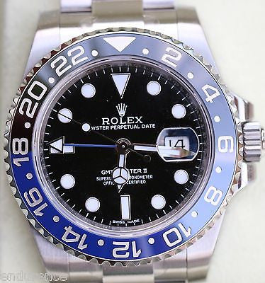 ROLEX GMT MASTER II 2 TWO STAINLESS STEEL 40mm BLUE BLACK BRUISER NEW