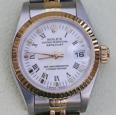 ROLEX LADIES WATCH DATEJUST WHITE DIAL JUBILEE BAND GOLD STEEL BOX PAPERS