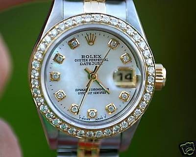 ROLEX LADIES 2TONE DATEJUST 18K DIAMOND BEZEL MOP DIAL