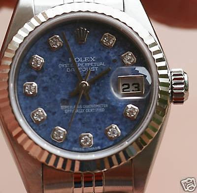 ROLEX LADIES DATEJUST WHITE GOLD BEZEL SODALITE DIAL