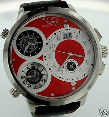 CURTIS & CO. BIG TIME WORLD RED DIAL STEEL 4 TIME ZONE