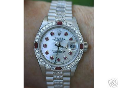 ROLEX LADIES 26mm DATEJUST 179160 DIAMOND & RUBY WHITE GOLD DIAM PRESIDENT BAND