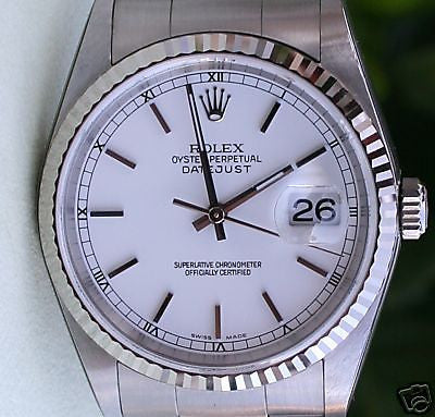 ROLEX DATEJUST MENS STAINLESS STEEL WHITE GOLD BEZEL WHITE DIAL MODEL 16234