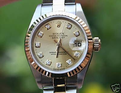 ROLEX LADIES 2TONE DATEJUST CHAMPAGNE DIAMOND DIAL