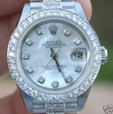 ROLEX LADIES DATEJUST 179160 STEEL 18K WHITE GOLD PRESIDENT DIAMOND BAND UNWORN