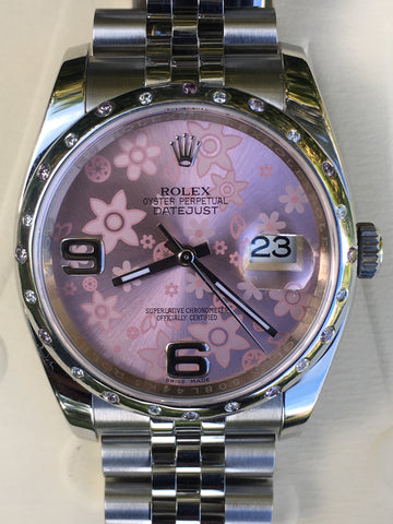 Rolex 116200 Datejust 36mm Mens Ladies Pink Floral with Diamond and Ruby Bezel