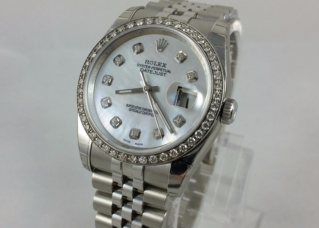 Rolex Stainless Steel 36mm Datejust 116200 Custom Diamond Bezel & White Mother-Of-Pearl Diamond Dial