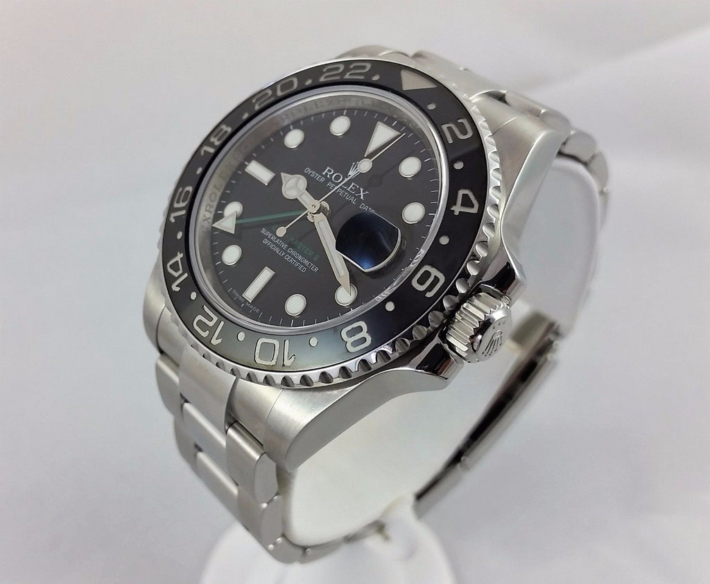 Rolex GMT Master II 116710 Stainless Steel Engraved Black Ceramic Bezel