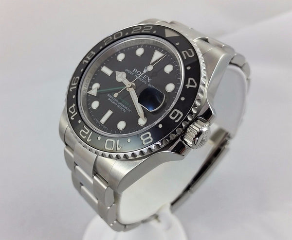 Rolex GMT Master II 116710 Stainless Steel Engraved Black Ceramic Bezel. Box, Card, Booklet, Tag
