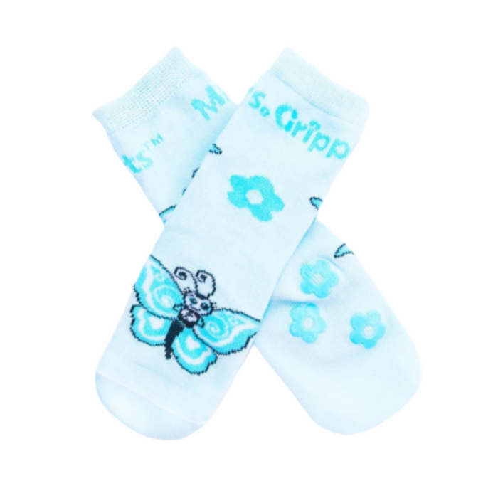 Baby/Kids Bamboo Socks with Grips - Blue Butterfly