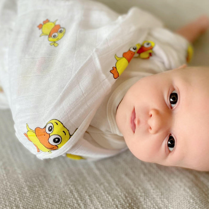 100% Bamboo Muslin Swaddle Blanket  - Duck