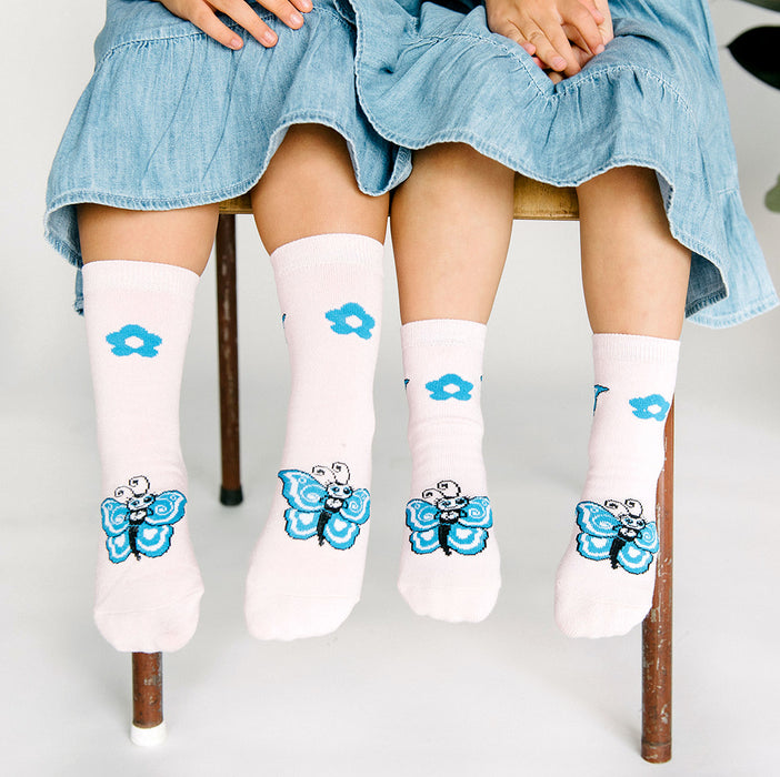 Kids Bamboo Socks with Grips - Butterfly (Medium)