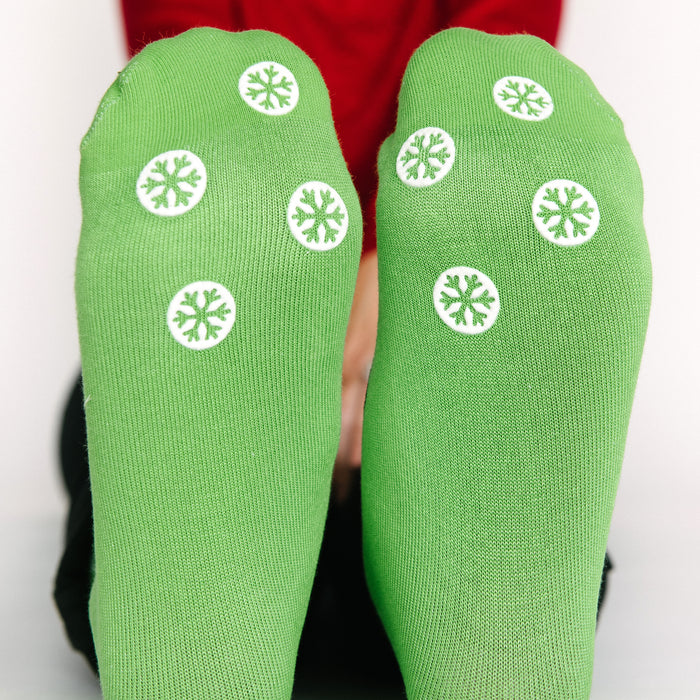 Matching Snowman Socks with Grips - Adult + Kids