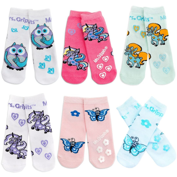 Baby/Toddler Bamboo Socks with Grips - 6-pack (0-4 years)