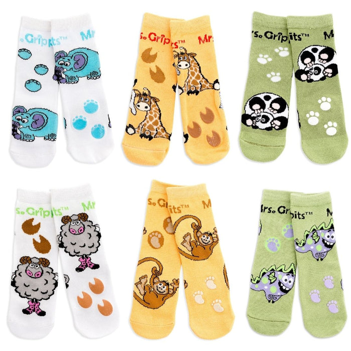 Baby/Toddler Bamboo Socks with Grips - 6-pack Safari (1-4 years)