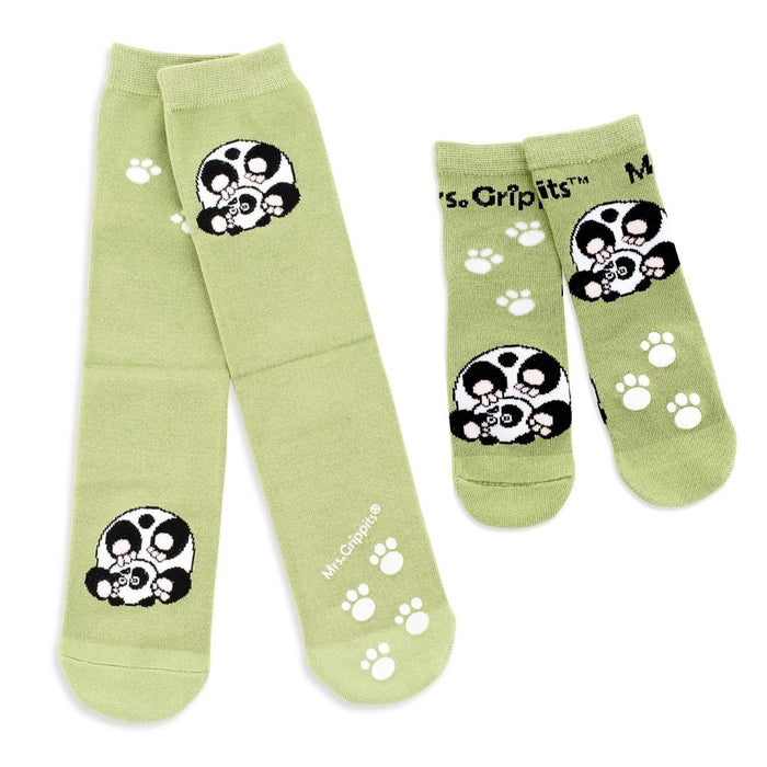 Matching Panda Socks with Grips - Adult + Kids