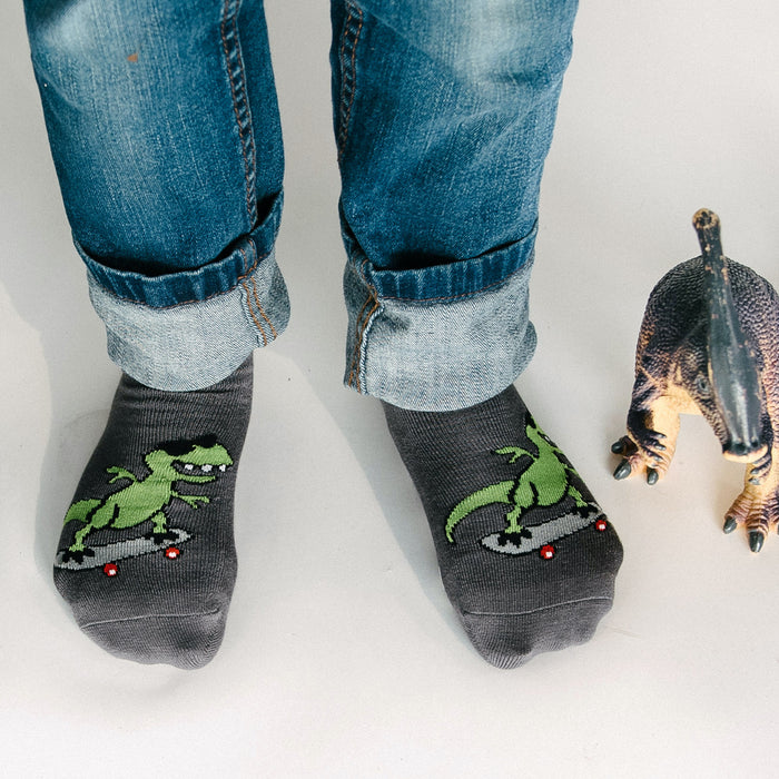 Kids Bamboo Socks with Grips - T-Rex (Medium)