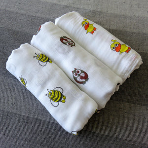 100% Bamboo Muslin Swaddle Blankets  - Set of 3