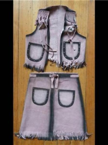 Kids Pink Vest & Skirt Leather Chaps