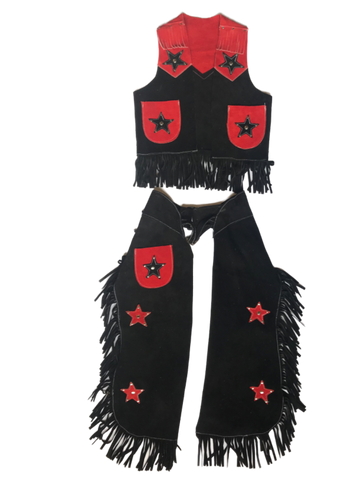 Kids Black & Red Leather Chaps
