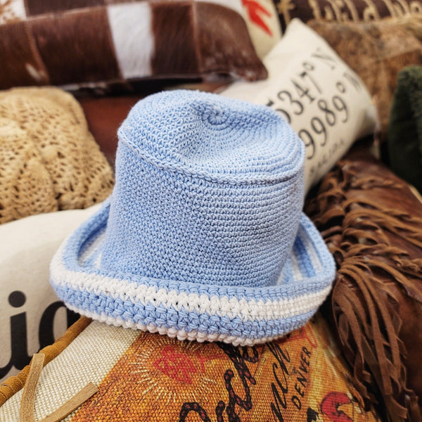 baby blue with white stripes crocheted hat