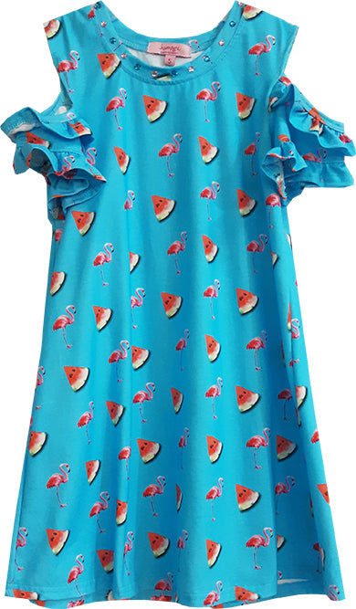 Blue Watermelon & Flamingo Dress