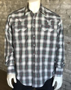 Men's Retro Gray Plaid Snap Shirts