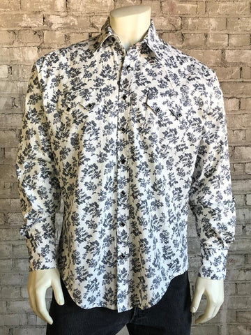 Men's Vintage Grey Floral Print Western Dress Snap Shirt