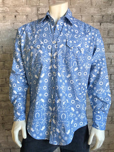 Men's Bison Bandana Print Blue Western Snap Shirt