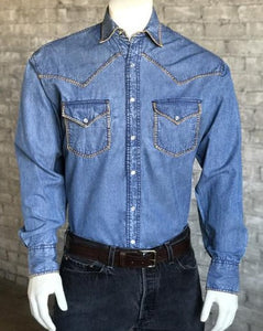 Men's Denim Stitched Snap Shirts