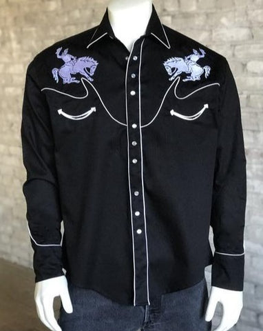 Men's Black Bucking Horse Snap Shirts
