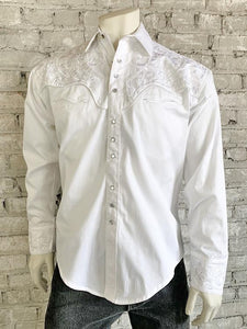 Men's Vintage Tooling Embroidered White-on-White Western Snap Shirt