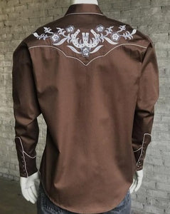 Men's Brown Western Horseshoe Snap Shirts