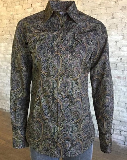 Women's Brown Paisley Western Snap Shirt