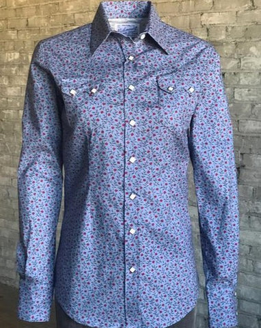 Women's Blue Floral Snap Front Shirt
