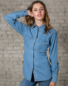 Women's Stonewashed Denim Classic Western Shirt