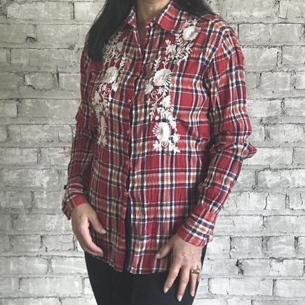 Women's Red Blue Plaid with White Embroidery