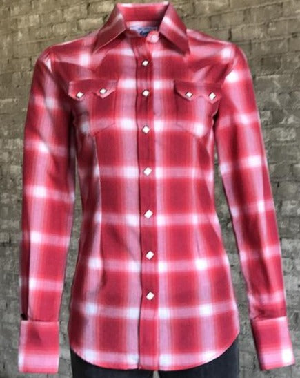 Women's Retro Red Plaid Snap Shirt
