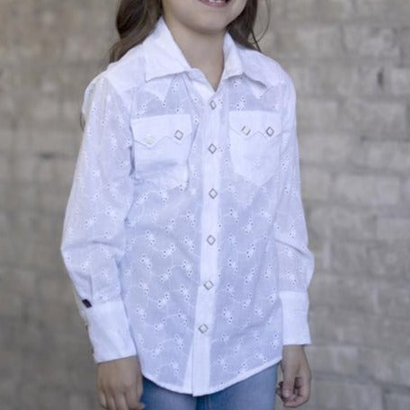 Kids White Eyelet Western Snap Shirt