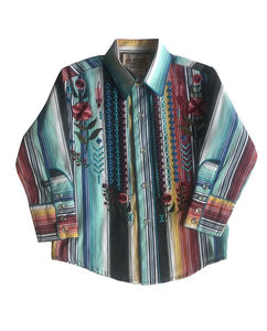 Kids Stripe & Floral Embroidered Western Snap Shirt
