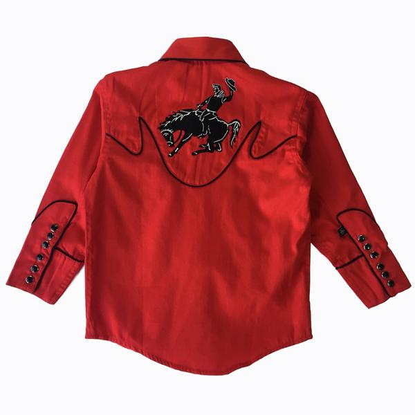 Kids Red Bronc Rider Vintage Snap Shirt