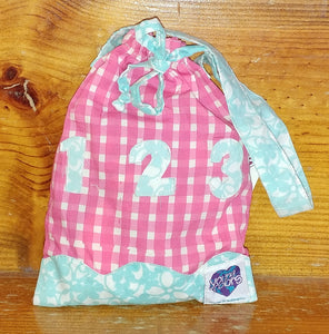 Fabric Numbers Bag - Pk Plaid