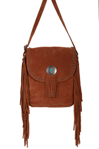 Turquoise Concho Leather Cross-Body Fringe Hand Bag