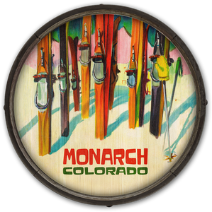 Monarch Colorful Skis Vintage Barrell Sign