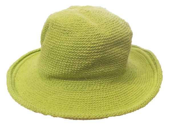 Original Brim Hat - Hand Crocheted - Adult Green Apple
