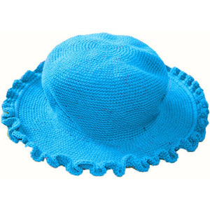 Ruffled Brim Hat - Hand Crocheted - Aqua