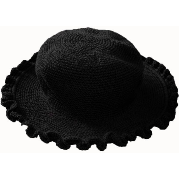 Ruffled Brim Hat - Hand Crocheted - Black