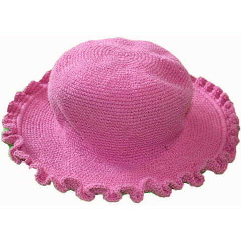 Ruffled Brim Hat - Hand Crocheted - Bubblegum