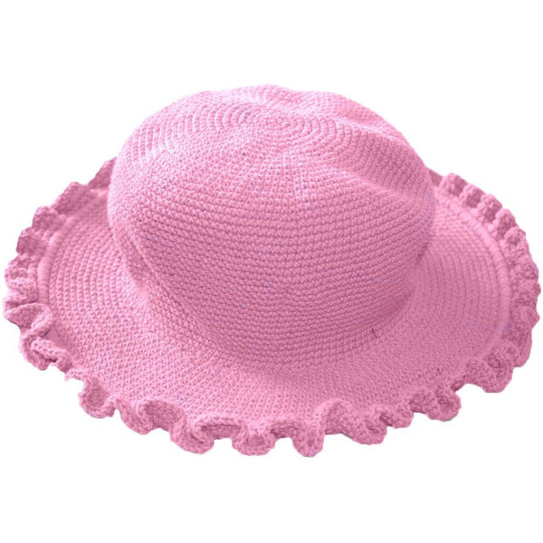 Ruffled Brim Hat - Hand Crocheted - Adult Cotton Candy