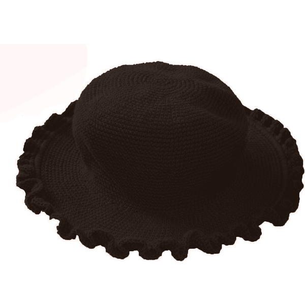 Ruffled Brim Hat - Hand Crocheted - Dark Chocolate